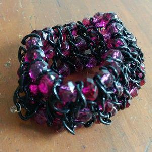 Jewelry - Black and pink chunky metal beaded bracelet